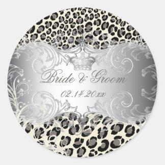 PixDezines Leopard+pearl swirls wedding stickers