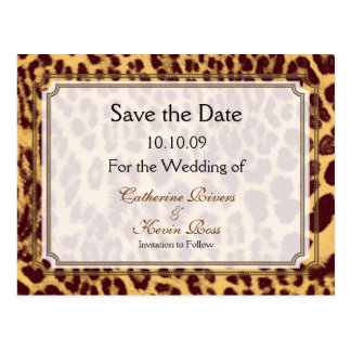 PixDezines Leopard print/DIY text/ save the date Postcard