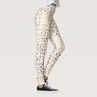 PixDezines Leopard Print/Gold Tone Leggings
