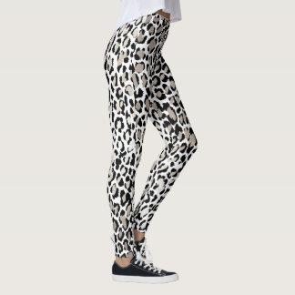PixDezines Leopard Print/Silver Tone Leggings