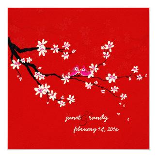 PixDezines Love birds/red cherry/sakura blossoms 13 Cm X 13 Cm Square Invitation Card