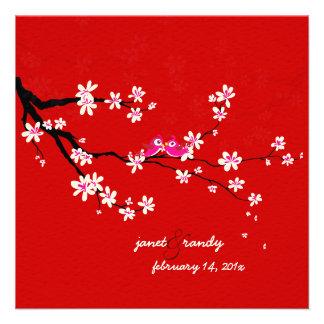 PixDezines Love birds red cherry sakura blossoms Invites