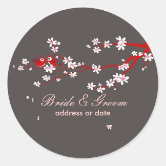 PixDezines Love birds/red cherry/sakura blossoms Classic Round Sticker