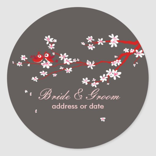 PixDezines Love birds/red cherry/sakura blossoms Sticker