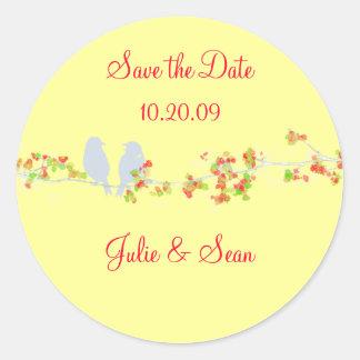 PixDezines love birds/save date/DIY background Classic Round Sticker