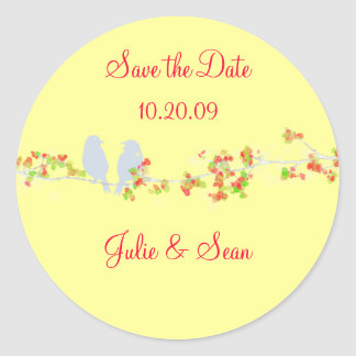 PixDezines love birds/save date/DIY background Round Sticker