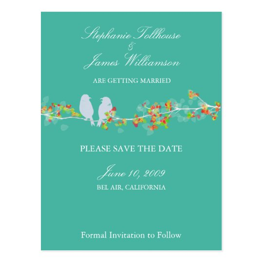 PixDezines LOVE BIRDS SAVE THE DATE/DIY COLOR Postcard