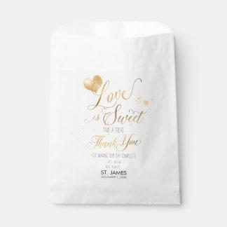 PixDezines LOVE IS SWEET+FAUX GOLD HEART Favour Bags
