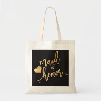 PixDezines Maid of../Faux Gold Script Tote Bag