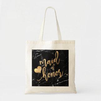 PixDezines Maid of../Faux Gold Script Tote Bag