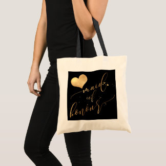 PixDezines Maid of Honour/Faux Gold Calligraphy Tote Bag