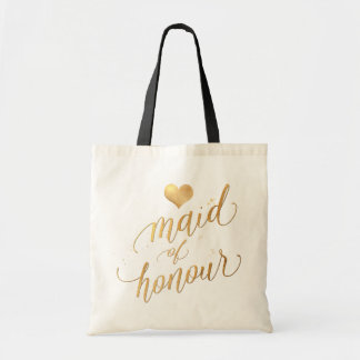 PixDezines Maid of Honour/Faux Gold Script Tote Bag