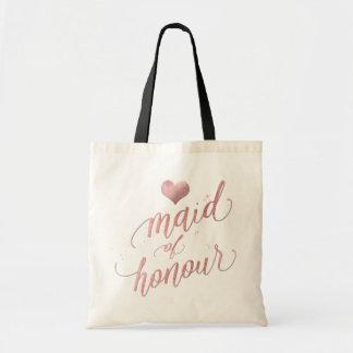 PixDezines Maid of Honour/Faux Rose Gold Script Tote Bag