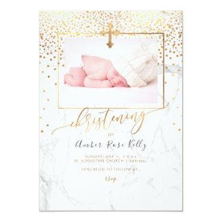 PixDezines Marble+Faux Gold Confetti Christening Card