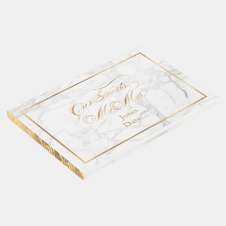 PixDezines Marble+Faux Gold+Fancy Script Guest Book
