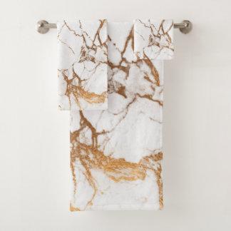 PixDezines Marble + Faux Gold Veins Bath Towel Set