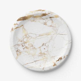 PixDezines Marble/Faux Gold Veins Paper Plate