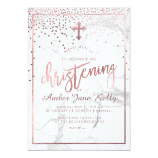 PixDezines Marble+Faux Rose Gold Dots/Christening Card