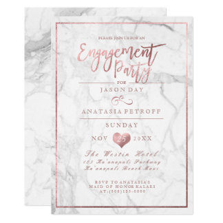 PixDezines Marble/Faux Rose Gold/Engagement Party Card