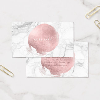 PixDezines Marble+Faux Rose Gold Foil Business Card