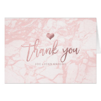 PixDezines Marble Faux Rose Gold Heart/Thank You Note Card