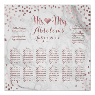 PixDezines Marble/Faux Rose Gold Specks/Seating Poster