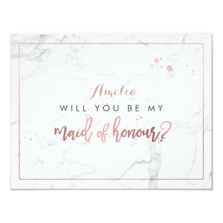 PixDezines Marble /Faux Rose Gold Will you be. Card