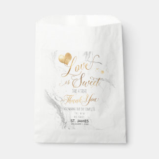 PixDezines MARBLE LOVE IS SWEET+FAUX GOLD HEART Favour Bags