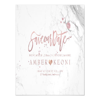 PixDezines Marble Save Our Date/Faux Rose Gold Magnetic Invitations
