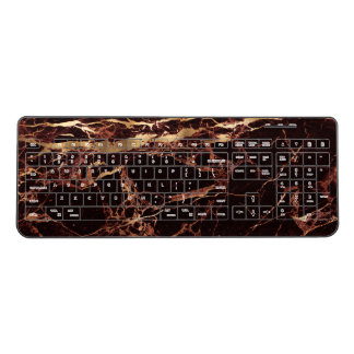 PixDezines MASALA RED MARBLE FAUX GOLD VEINS Wireless Keyboard