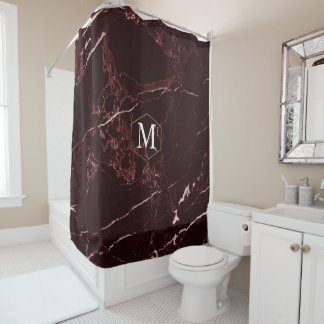 PixDezines MASALA RED MARBLE+MONOGRAM (removable) Shower Curtain