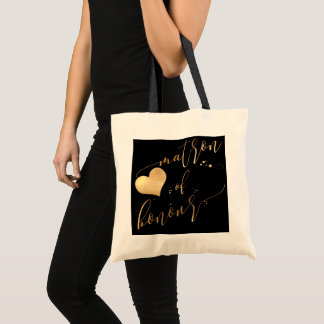 PixDezines Matron of Honour/Faux Gold Calligraphy Tote Bag