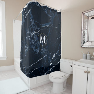 PixDezines MIDNIGHT BLU MARBLE+MONOGRAM Shower Curtain