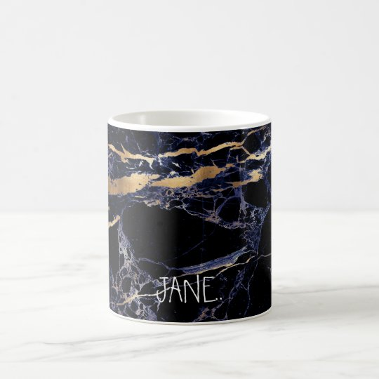 PixDezines MIDNIGHT BLUE MARBLE+FAUX GOLD VEINS Coffee Mug