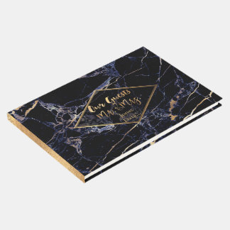 PixDezines MIDNIGHT BLUE MARBLE+FAUX GOLD VEINS Guest Book