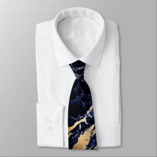 PixDezines Midnight Blue Marble Slab+Gold Veins Tie
