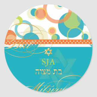 PixDezines Mod Bubbles, retro Bat Mitzvah/teal Round Sticker