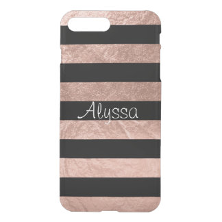 PixDezines Modern Stripes+Faux Rose Gold iPhone 7 Plus Case