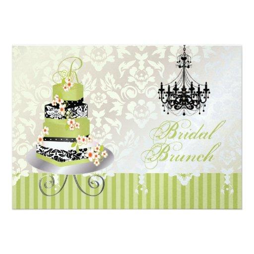 PixDezines monogram bridal cake/matcha green Personalized Announcements