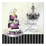 PixDezines monogram bridal, plum pudding cake Invitations