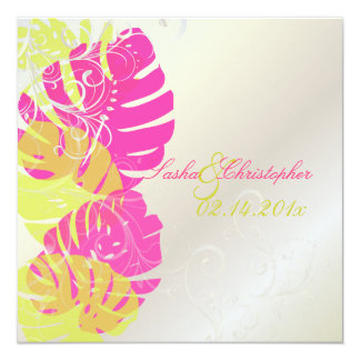 PixDezines Monstera, Tropical Foliage + Swirls 13 Cm X 13 Cm Square Invitation Card