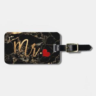 PixDezines MR BLACK MARBLE+FAUX GOLD Luggage Tag