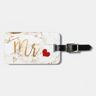 PixDezines MR MARBLE+FAUX GOLD Luggage Tag
