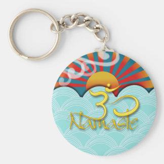 PixDezines namaste+wind+water+sunburst+om Basic Round Button Key Ring