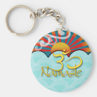 PixDezines namaste+wind+water+sunburst+om Key Ring