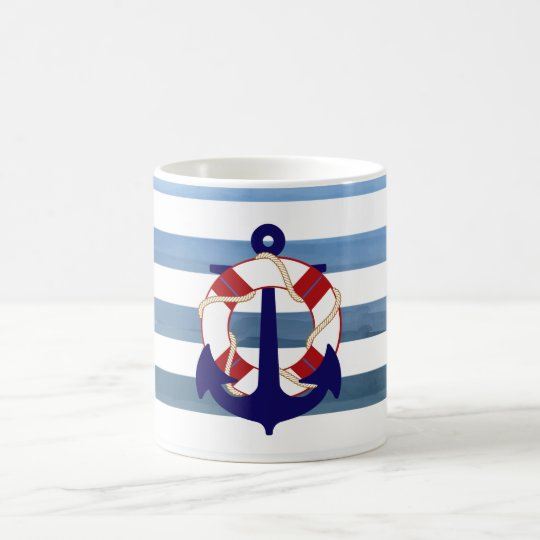 PixDezines nautical stripes/anchor Coffee Mug
