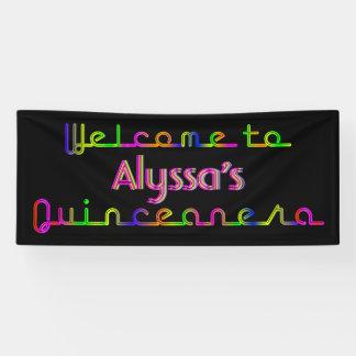 PixDezines Neon Lights Quinceanera Banner 6'x2.5'