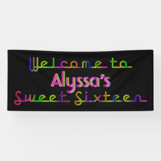 PixDezines Neon Lights Sweet 16 Banner 6'x2.5'