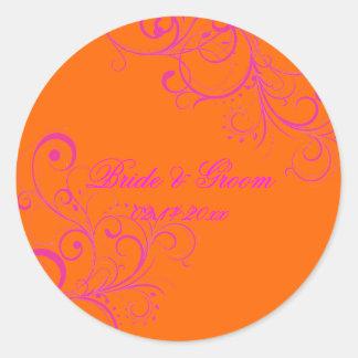PixDezines Orange + Pink Swirls wedding stickers