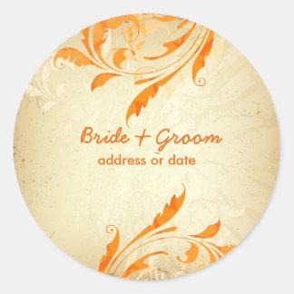 PixDezines Ornamental Leaves+Swirls Round Sticker